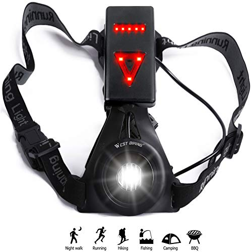Chest Running Light USB Rechargeable - LED Flashlight with Warning Triangle Taillight for Jogging Night Dog Walking Camping Fishing …