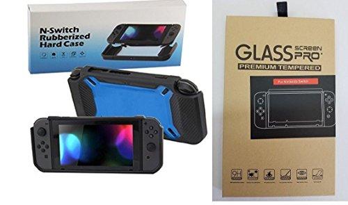 ClassicGameSource Ausgeglichenes Glas-Schirm & Rubber Hartschalen-Case für Nintendo Schalter BLK / BLUE