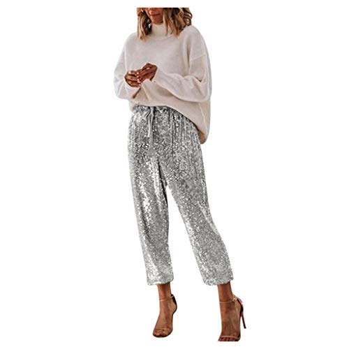 iYYVV Fashion Lady High Waisted Sequin Crop Pants Sexy Style Foot Tape Party Trousers Silver