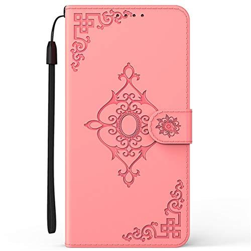 Blllue Capa carteira compatível com Motorola G7 Power, capa floral diagonal para Moto G7 Power - Rosa