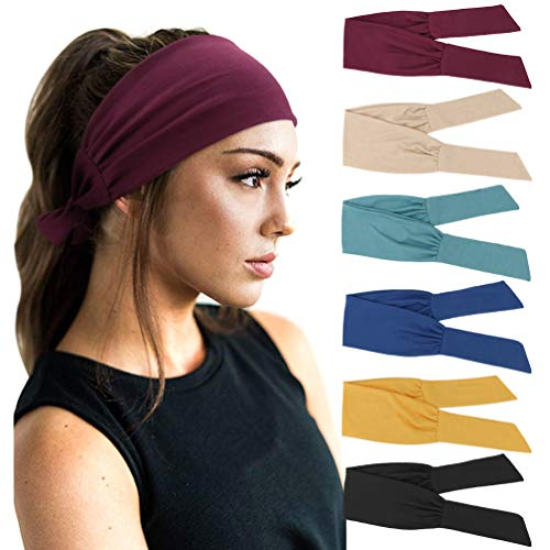 DRESHOW 6 PCS Adjustable Headbands for Women Knotted Headbands Elastic Non-Slip Fashion Hair Bands for Workout Sports Running Yoga