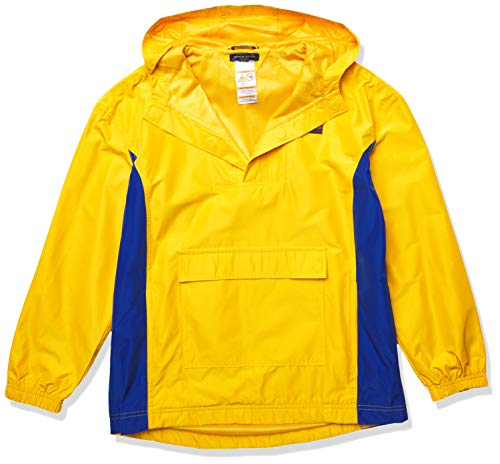 Tommy Hilfiger Boys' Adaptive Popover Hooded Yachting Jacket with Magnetic Buttons, Golden Rod, SM