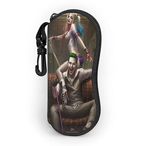 Harley Quinn And The Joker - Funda para gafas de sol de neopreno con cremallera suave, bolsa protectora para gafas con clip para hombres y mujeres
