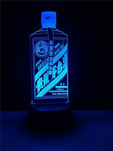 Bbdeng 3D-Nachtlicht Moutai-Flasche Led-Touch-Farbwechsel Optische T?Uschungslampe Kreative Kinder Mit Schlafender Tischlampe Schlafzimmer Vision Umgebungslichtusb