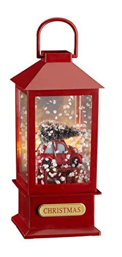 Fachhandel Plus LED Schneelaterne Auto Schneewirbel Musik Jingle Bells Weihnachtsdeko warmweiß Schneekugel