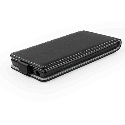 Leder-Imitat FLEXI SCHWARZ P für Nokia Lumia 730 Lumia 735 Lumia 730 Dual Sim Hülle Etui Flip Cover Flexi Silikon Klapp Tasche