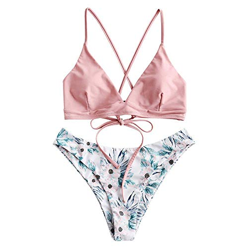 ZAFUL zweiteilig Bikini-Set mit verstellbarem BH Push-Up Rücken, Triangle Bustle Badehose mit Blummenmuster (Hellrosa, M)