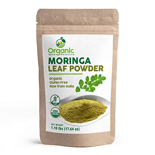Organic Moringa Powder - 1.10 lbs (17.64 oz), Lab Tested for Heavy Metal and Purity, Resealable Bag, Gluten Free and Non-GMO, Moringa Olifera Powder - 100% Raw from India, by OSR