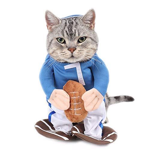 W-L Rugbyspieler-Katzen-Kostüm, Sportler, Anzug für Haustiere, lustige Katzenbekleidung, Kleidung für Haustiere (Farbe: mehrfarbig, Größe: S)