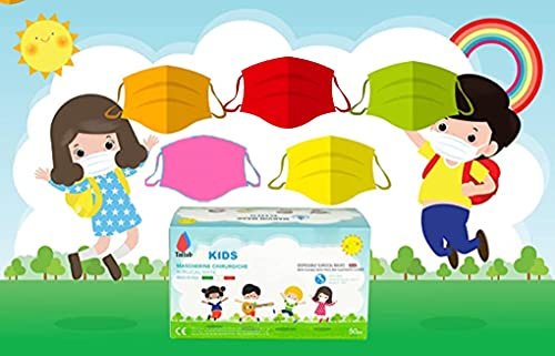 Mehrfarbig -50 Chirurgische Masken für Kinder - 3-lagige Einwegmasken - CE-gekennzeichnet - Typ II - Norm EN14683:2019-3 Windeln -Medizinisches Gerät- Medizinische masken kinder