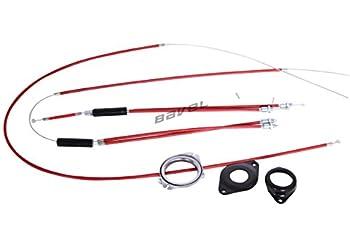 BMX Bike Gyro Brake Cables Front + Rear  Upper + Lower  Spinner Rotor Set Kit (red