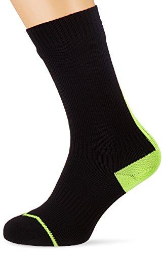 Sealskinz Herren Road Dünne Mid Socken mit Hydrostop,Schwarz (Black/Gelb),39-42 EU (Herstellungsgröße:6-8 UK)