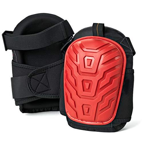 SZH ZPTENT Professionelle Knieschützer Heavy Duty Schaumstoffpolsterung Gel Construction Knieschützer mit starken Doppeln Straps - Schutz für die Innen- und Außen,red Thick