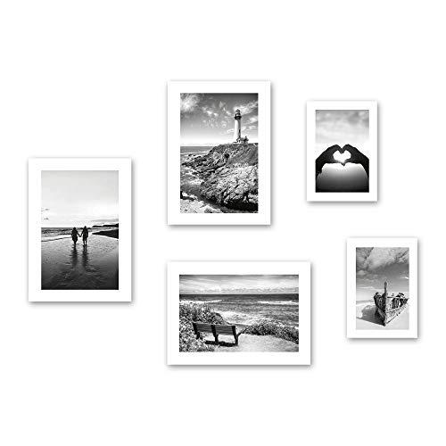 Poster-Set | Liebe | 5 Bilder Deko Wohnzimmer Modern Schlafzimmer Bild für Ihre Wand - optional mit Rahmen - 3x DIN A3 & 2x DIN A4 - ca. 30x40 & 20x30 (ohne Rahmen)