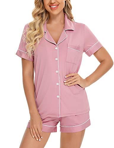 Women's Shorts Pajama Set Short Sleeve Sleepwear Nightwear Pjs Dusty Rose XL