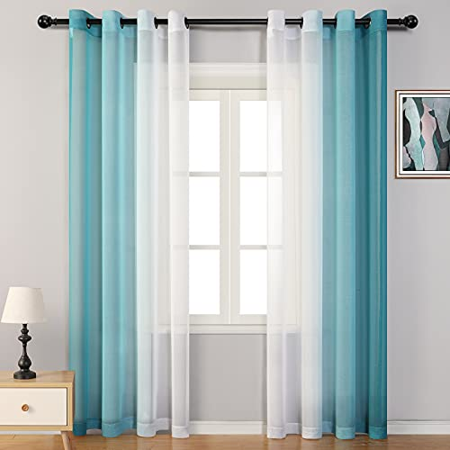MYSKY HOME Teal Ombre Sheer Curtains 63 Inch Long Grommets Turquoise Sheer Curtains for Living Room Semi Window Sheer Drapes Elegant Curtains for Bedroom 95 Inch Length, Set of 2 Panels