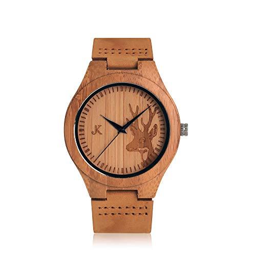Kim Johanson Herren Bambus-Holz Armbanduhr *Rewild* in Braun mit Echtem Lederarmband Handgefertigt Quarz Analog Uhr inkl. Geschenkbox