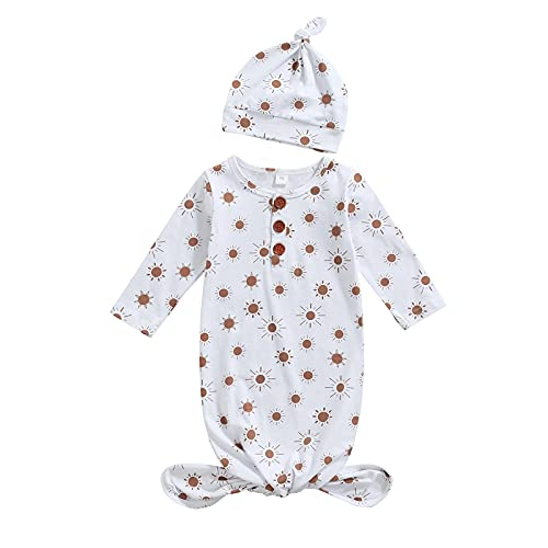 Baby Infant Cotton Sleeper Nightgown Pajamas Newborn Sunflower Sleepwear Sleeping Bag with Hat White