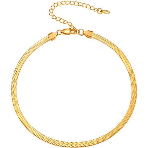 PROSTEEL Damen Schlangenkette Collier 32+9cm kurz Choker Kette 18k vergoldet 5mm breit Halskette Halsband für Mädchen Frauen perfekte Schmuck Accessoire für Party...