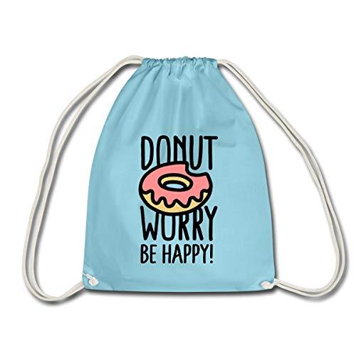 Spreadshirt Donut Worry Be Happy Doughnut Turnbeutel, Aqua