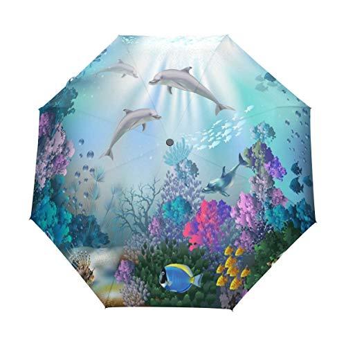 RXYY Meer Tier Delfins Pflanzen Falten Auto Öffnen Schließen Regenschirm für Frauen Männer Jungs Mädchen Winddicht Kompakt Reise Leicht Regen Regenschirm