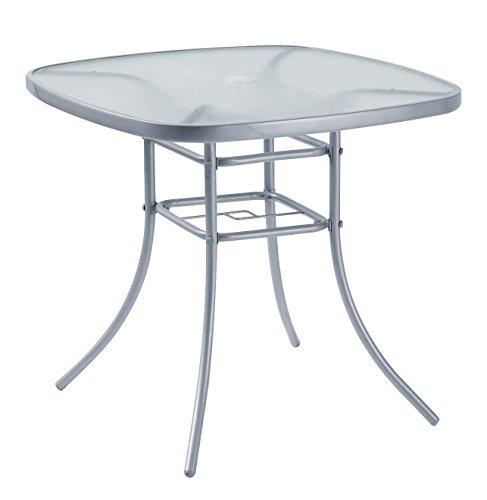 Table d'extérieur, meuble de jardin, 80 x 80 cm, en acier, argenté, avec trou et support pour parasol
