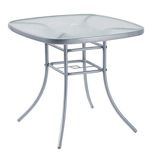 Garden Furniture Patio Table Outdoor 80 x 80cm Silver Steel with Umbrella Stand Hole On Top