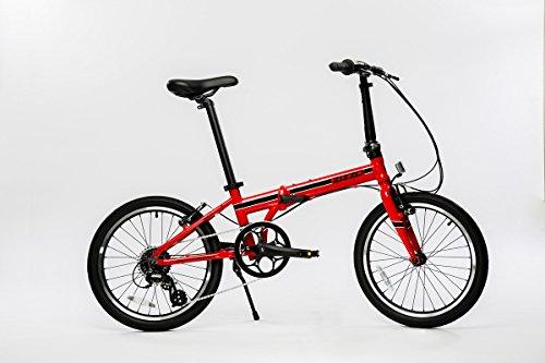 EuroMini Urbano Lightest Aluminum Frame Shimano 8-Speed 24lb Folding Bike, 20-Inch, Red