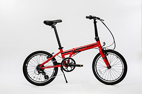 EuroMini Urbano Lightest Aluminum Frame Shimano 8-Speed 24lb Folding Bike, 20-Inch, Red