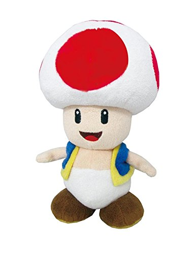 Little Buddy Super Mario All Star Collection 1417 Toad Stuffed Plush, 7.5'