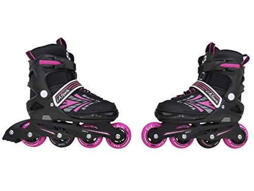L.A. Sports Inliner Skate Soft Kinder Jugend Damen Größenverstellung 5 Größen verstellbar (33-37, Stripes pink)