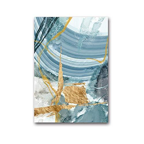FRTTCYO Poster Moderne abstrakte Leinwand Malerei Poster und Druck für Wohnzimmer Blue Bedroom Home Decor Bild Große Wandkunst Golden Unframed Print -50x70cmx1 No Frame