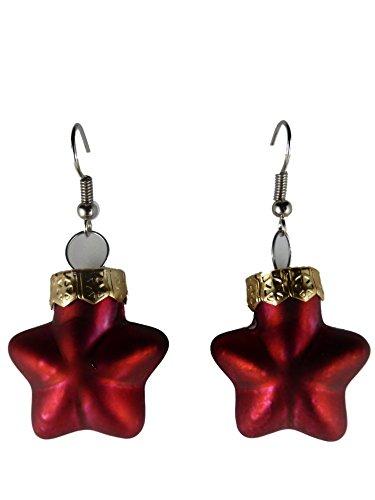 Weihnachtschmuck Ohrringe Weihnachten Schmuck Hänger Christbaumkugel Weihnachtskugel Baumschmuck Glas Stern rot matt K301