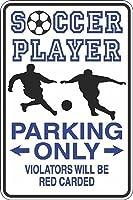 サッカー選手の駐車場のみレッドカードノベルティメタルティンサインホームハンギングアートワークプラークウォールアート装飾ヴィンテージサインアウトドアリビングヤードサインストリートガレージパブリックサインギフト8インチX12インチ メタルプレートブリキ 看板 2枚セットアンティークレトロ