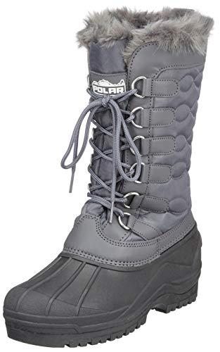 Damen Nylon Kaltes Wetter Im Freien Schnee Ente Winter Regen Pelz Cuff Lace Stiefel - Grau - GRE38 AYC0136