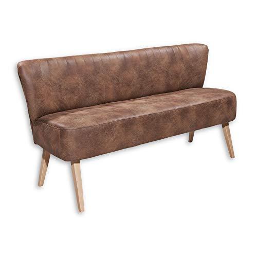 MARCEL Esszimmerbank mit Rückenlehne, Massivholz Füßen & Microvelours Bezug, Hellbraun - Bequeme 3-Sitzer Sitzbank mit gefedertem Sitz - 184 x 87 x 66 cm (B/H/T)