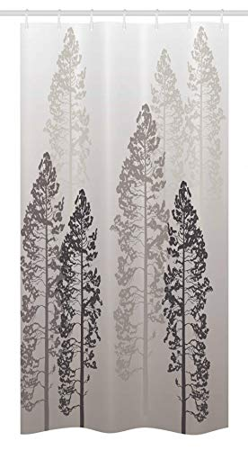 Ambesonne Country Stall Shower Curtain, Pine Trees in The Forest on Foggy Seem Ombre Backdrop Wildlife Adventure Artwork, Fabric Bathroom Decor Set with Hooks, 36' X 72', Warm Taupe