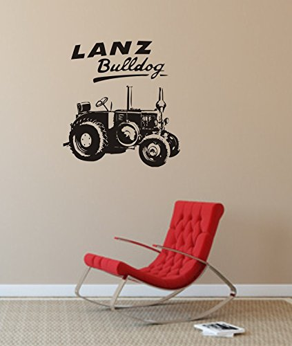 blattwerk-design Wandtattoo, Wandaufkleber - LANZ Bulldog, Traktor, Ackerschlepper, freie Farbwahl, versch. Größen (M070 Schwarz, 480 mm x 450)