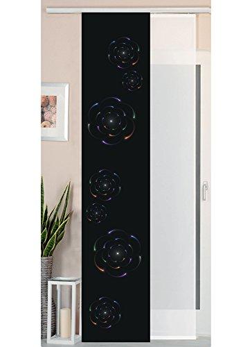 Gardinenbox 2er Set Schiebegardine Flächenvorhang Wildseide Optik und Voile Paneel, 245x45, Circle, 80400