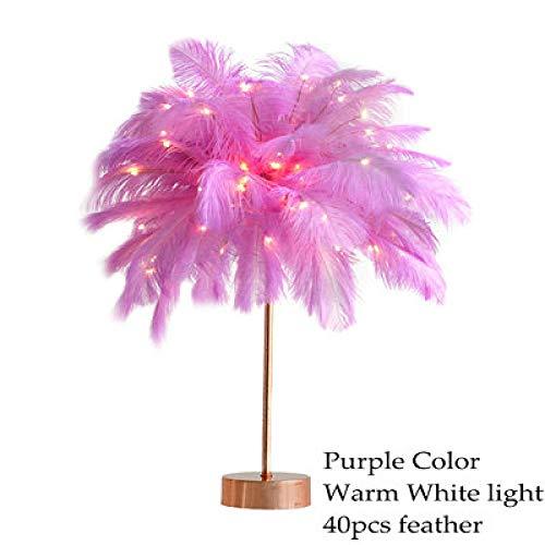 Lámpara de mesa de plumas creativas de bricolaje Lámpara de mesa de plumas de árbol de luz blanca cálida Chica Led Boda Decorativa Luces de cabecera-Púrpura