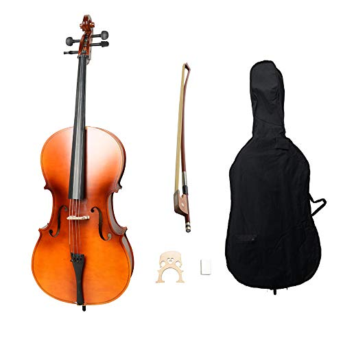 Acoustic Cello Wood Color Beautiful Varnish Finishing,with Soft Case, Bow, Rosin and Bridge,Size 4/4 (Matte Natural)