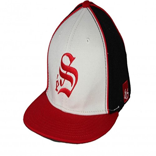 ES Footwear Skateboard A-Flex Fitted Cap Smooth Red/White/Black - Cappie Kappie, Cap Size:S/M