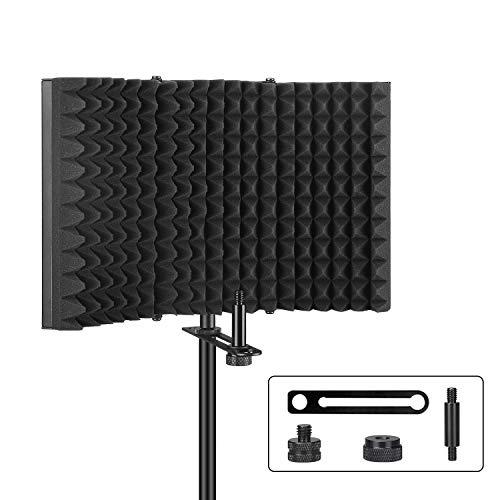 Aokeo Mikrofon Pop Filter mit absorbierender Schaumschicht schallabsorbierend Mikrofonisolationsschirm Einstellbar Mic Isolation Schild,Windschutzscheibe Windschild Windschutz(AO-302)