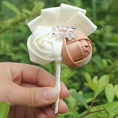 Jyuesi Homely Bruidsjurk Boutonniere Wijn Rood Satijn Rose Bloemen Corsage Mariage Crystal Broche Bloemen