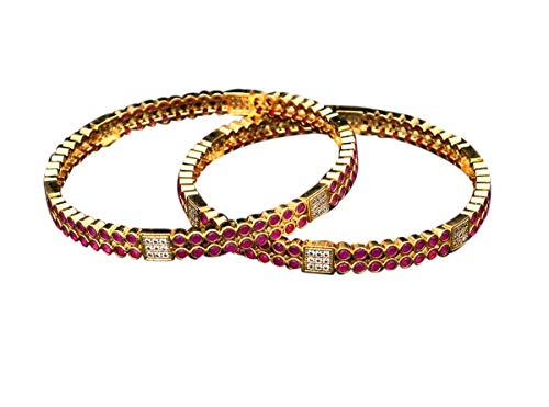 55Carat New Look Handmade CZ Cubic Zircon Round Stone Set of Two Bangles for Women 14k Gold Plated Designer Kangan Traditional Fashion Jewellery Gift for Girls VBL 37-2