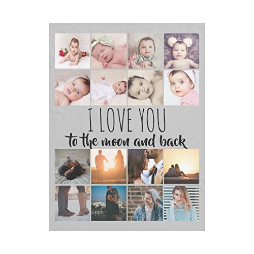 VENMAT Personalised Photo Baby Blanket 1-12 Photos Printing Customized DIY Super Soft Warm Lightweight Bed Couch Chair Throw Gifts for Newborn Baby (Throw 47.2'×59'' (120x150cm))