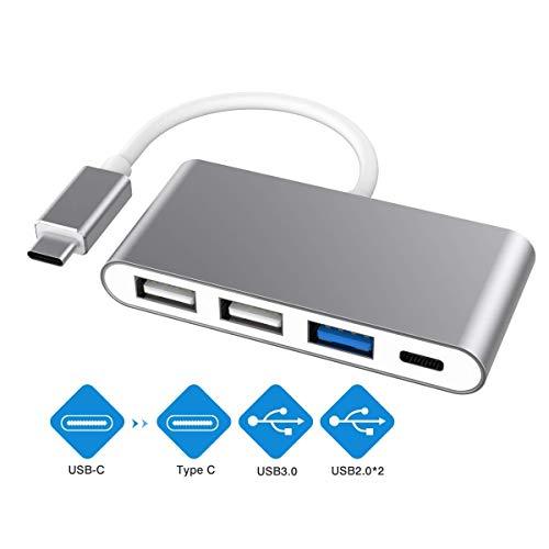 USB C-hub, USB type C naar USB 3.0 adapter, type C hub USB 3.0 & 2USB2.0 & type C aansluiting oplader, multi-poort USB C naar USB OTG gegevensadapter voor Chromebook Pixel/Dell XPS en meer grijs