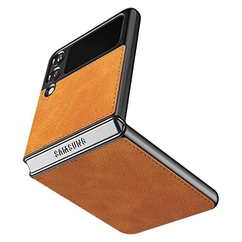 Cresee kompatibel mit Samsung Galaxy Z Flip 3 5G Hülle, PU-Leder Handyhülle Hülle Schutzhülle Cover für Galaxy Z Flip3 2021, Hellbraun