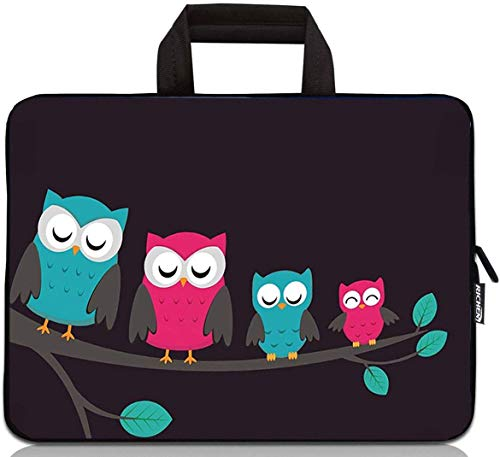 RICHEN 15 inch Neoprene Laptop Carrying Bag Chromebook Case Tablet Travel Cover with Handle Zipper Carrying Sleeve Case Bag Fits 14 15 15.4 inch Netbook/Laptop (14-15.4 inch, Cute Owls)