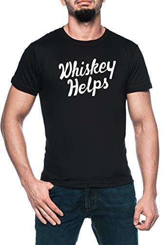Whiskey Helps Herren Schwarz T-Shirt Kurzarm Men\'s Black T-Shirt